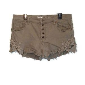 Mossimo high rise lace trim denim shorts